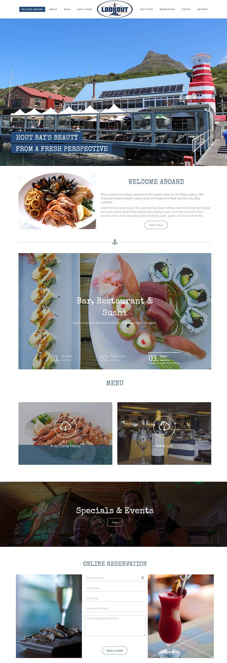 The Lookout Hout Bay Restaurant Website Showcase